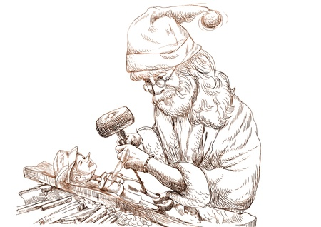 carver: Santa Claus as a carver sculpting Pinocchio marionette