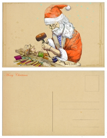 carver: Santa Claus as a carver sculpting Pinocchio marionette  Postcard