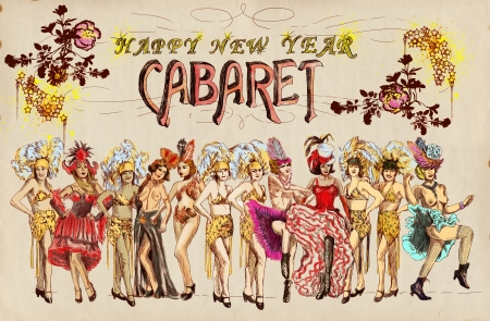 Cabaret Happy New Year   Retro image with lots of cancan dancers photo