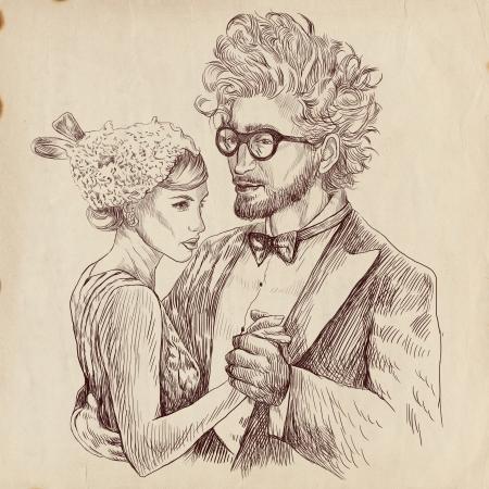 Imagem retro de dança clássica - jovem casal de amantes dançando Imagens - 16733838