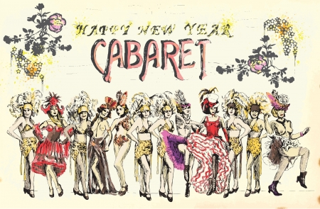 Cabaret Happy New Year   Retro image with cancan dancers  Vector