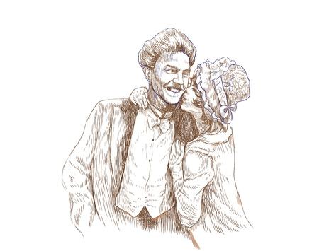 happy kiss - hand drawing photo
