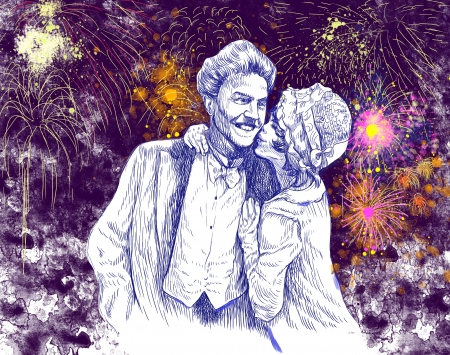 good luck kiss in front of the evening fireworks - hand drawing photo