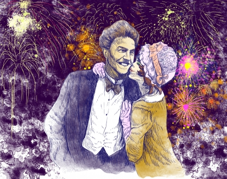 good evening: good luck kiss in front of the evening fireworks - hand drawing