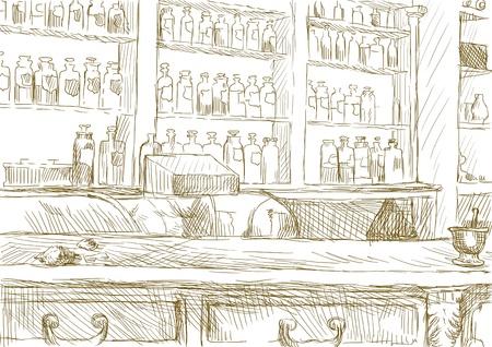contadores: Interior de una antigua farmacia de tama�o completo de dibujo a mano original Foto de archivo