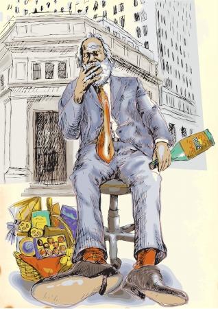 vieil homme assis: tous les jours est bon de c�l�brer wall street affaires