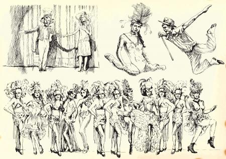 cabaret: Les gens dans le th��tre - S�rie de dessins r�tro souvenir