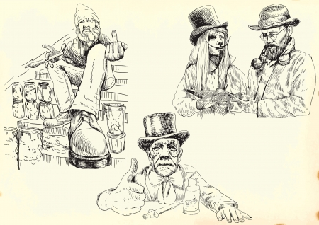 junkie: Freaks  chemical vendors happiness  - hand drawings collection Illustration