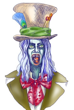 Portrait of an undead, zombie - hand drawing Stock Photo - 17165582
