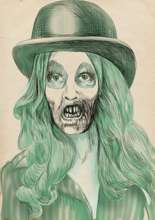 Portrait of an undead, zombie - hand drawing photo