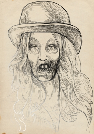 fateful: Portrait of an undead, zombie - hand drawing Stock Photo