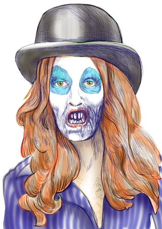 Portrait of an undead, zombie - hand drawing Stock Photo