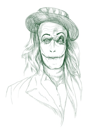 cirque: Portrait of an undead, zombie - hand drawing Stock Photo