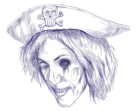 vamp: Portrait of an undead  zombie pirate  , hand drawing