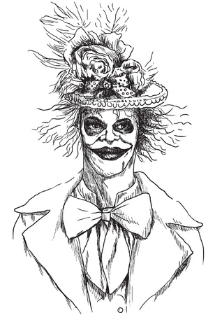 fateful: Portrait of an undead  zombie, scary clown      , hand drawing
