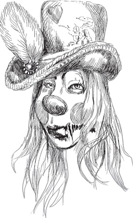 Portrait of an undead  zombie hairy girl  , hand drawing Vector