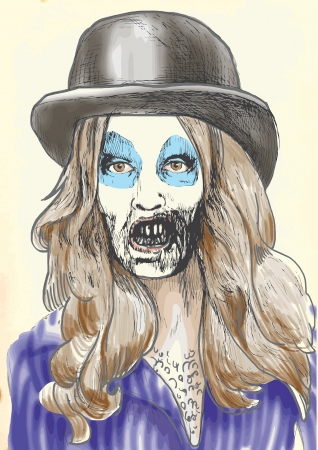 hairy girl: Portrait of an undead  zombie hairy girl  , hand drawing
