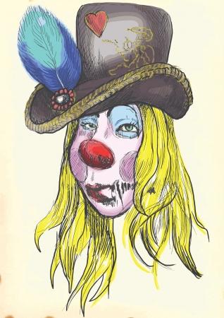 cirque: Ritratto di un non morto pelosa ragazza zombie, disegno a mano