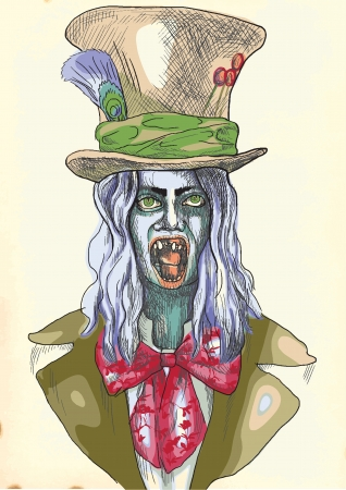 incubus: Portrait of an undead  zombie, scary clown      , hand drawing