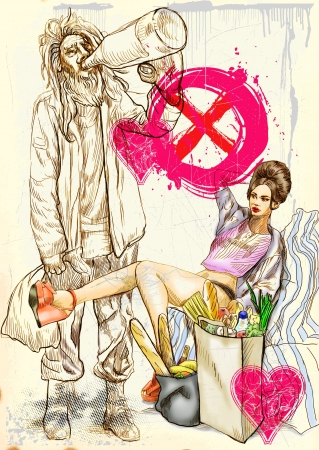 comix: Strange Love  glamor and misery of our Western civilization  Stock Photo