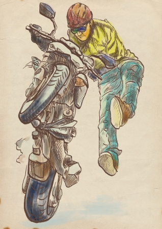 Motorcycle stunt      Full-sized  original  hand drawing Stock Photo - 17316456