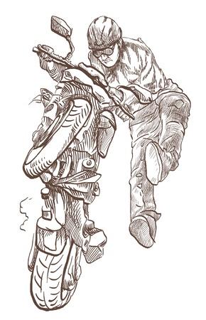 Motorcycle stunt      Full-sized  original  hand drawing photo