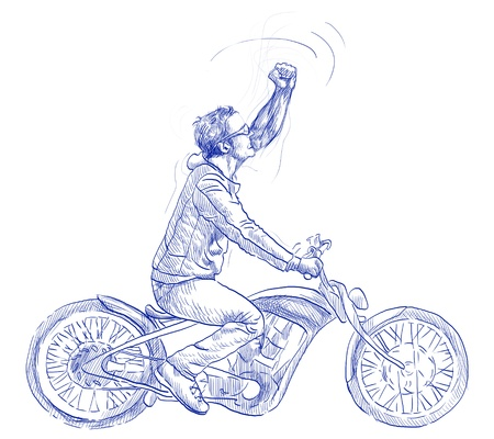 Young dude on a motorcycle triumphantly gestures      Full-sized hand drawing Stock Photo - 17316455