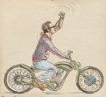 Young dude on a motorcycle triumphantly gestures      Full-sized hand drawing photo