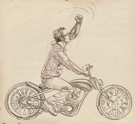 dude: young dude on a motorcycle - hand drawing