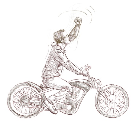 dude: Young dude on a motorcycle triumphantly gestures      Full-sized hand drawing