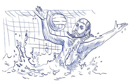 waterpolo: waterpolo doelman - hand tekening