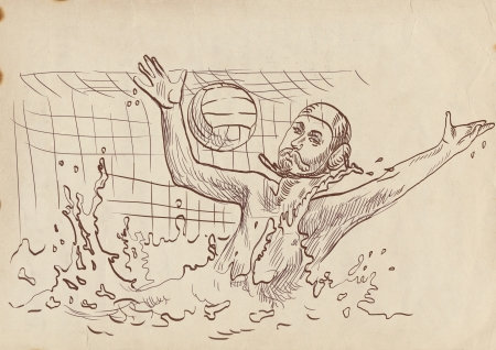 water polo goalkeeper - hand drawing Stock Photo - 17286080
