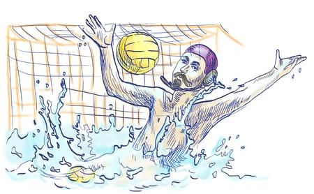 waterpolo: agua portero polo - Dibujo a mano alzada