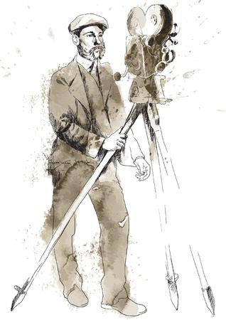 La storia del cinema L'uomo dietro la macchina da presa Archivio Fotografico - 17419441