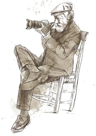 showman: Man behind the digital camera   Drawing into vector