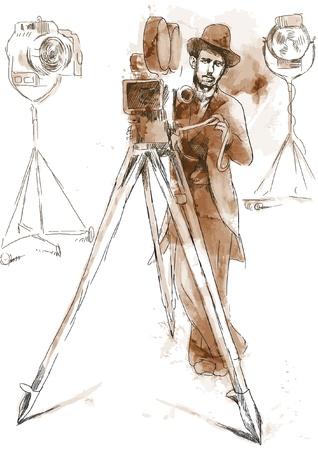 영화의 역사를 카메라 뒤에 남자 일러스트