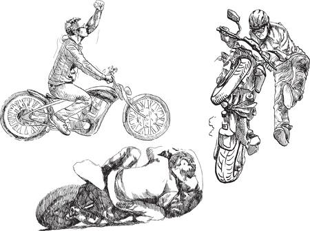 stunts: Disegni a mano Bikers convertiti in vettoriale