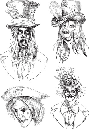 Horror heads collection      Drawings converted into vector   Illustration