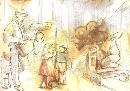 filmregisseur: Van de film de geschiedenis van de hele crew filmen van een film op de straat met kindacteurs Stockfoto