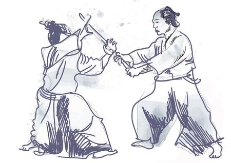 defensa personal: Aikido, el arte marcial japon�s - Dibujo de la mano en archivo vectorial