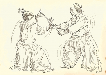 grappling: aikido, Japanese martial art - hand drawing into vector file