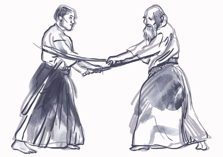 aikido, Japanese martial art - hand drawing into vector file Stock Vector - 17424875