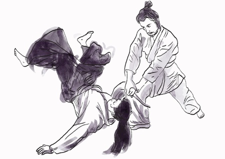 blood sport: aikido, Japanese martial art - hand drawing into vector file