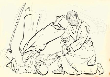 self defense: Aikido, el arte marcial japon�s - Dibujo de la mano en archivo vectorial