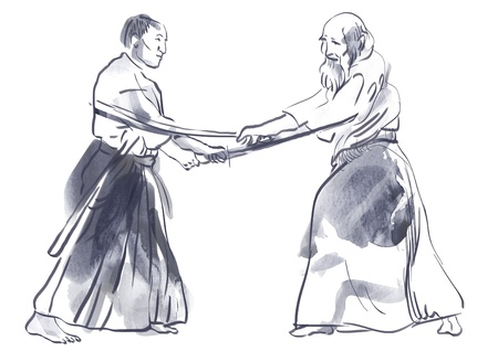 Aikido, Japanese martial art   Original hand drawing Stock Photo - 17439491