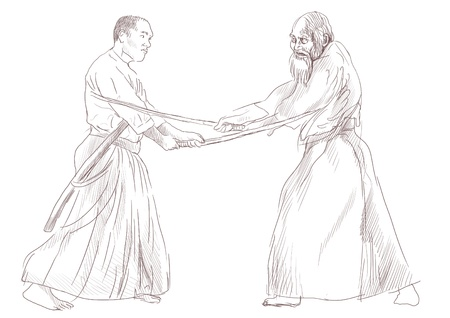 Aikido, Japanese martial art   Original hand drawing   photo
