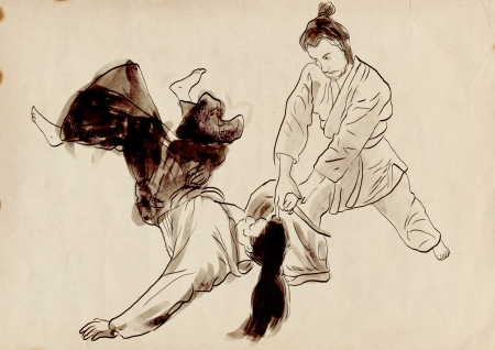 Aikido, Japanese martial art   Original hand drawing Stock Photo - 17479621