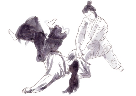 Aikido, Japanese martial art   Original hand drawing