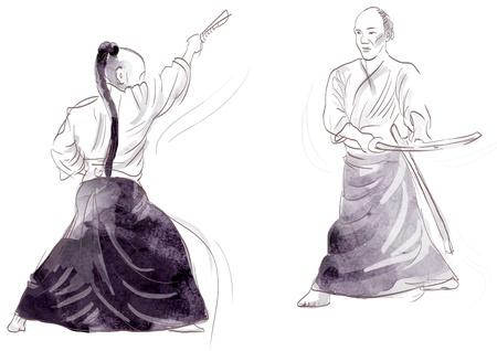 Aikido, Japanese martial art   Original hand drawing   Stock Photo - 17439495