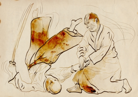 grappling: Aikido, Japanese martial art   Original hand drawing